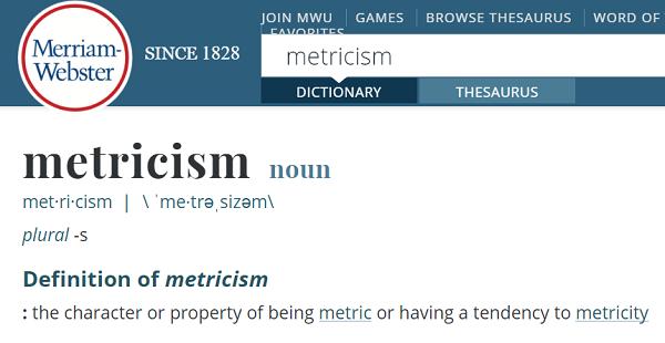 Metricism definition image