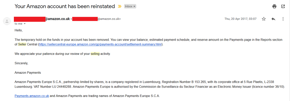 Amazon seller account reinstated